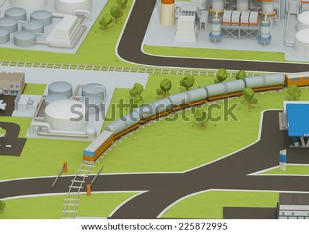 Illustration of train transportation of oil, transporting gas or oil on land station.