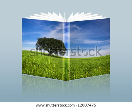illustration of travel guide with landscape in the hardcover