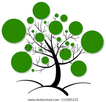 illustration of tree clipart on a white background - stock photo