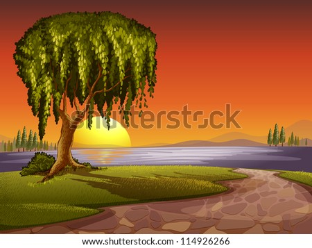 illustration of tree in a beautiful nature