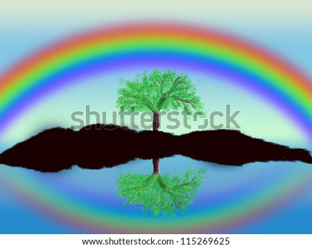 Illustration of tree set against a blue sky with a rainbow background.