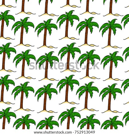 Illustration Of Tropical Palm Tree With Crown Of Green Fronds
