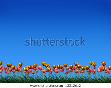 Illustration of tulips on a grass field