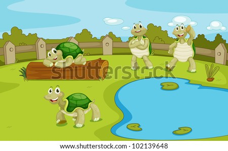 Illustration of 4 turtles hanging out at a pond - EPS VECTOR format also available in my portfolio.