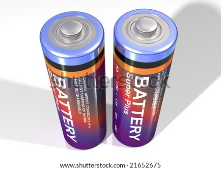Illustration of two batteries standing upright together