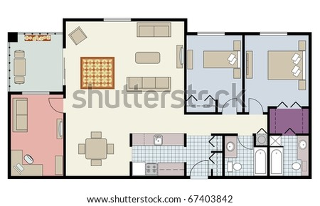 Illustration of two-bedroom condo with den and furniture-raster