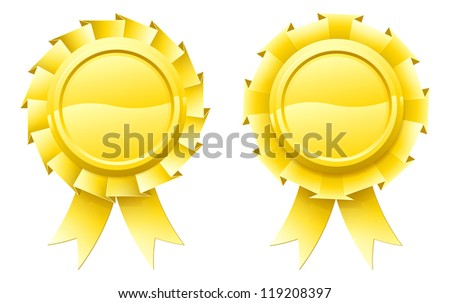 Illustration of two blank gold rosettes with lots of copy space in the centre for your text