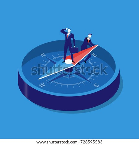 Illustration of two businessmen using compass for navigation and orientation in business. Strategy concept flat style design.