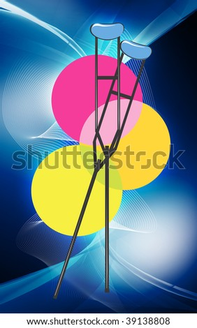 Illustration of two crutches in background of circles