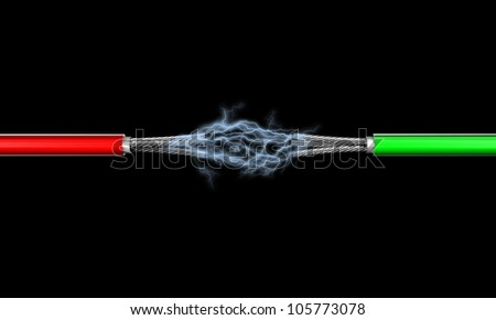 Illustration of two electric wires against a dark background