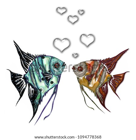 Illustration of two flat glossy fishes in green blue and orange red color with heart bubbles on the white background. Decorated image of two scalars, feeling love, in relations