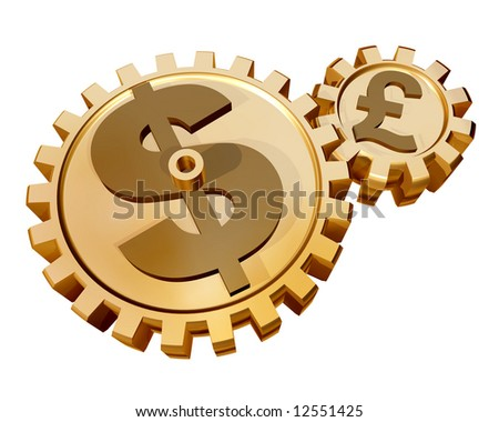 Illustration of two gears showing a relationship and influence of the dollar on the pound