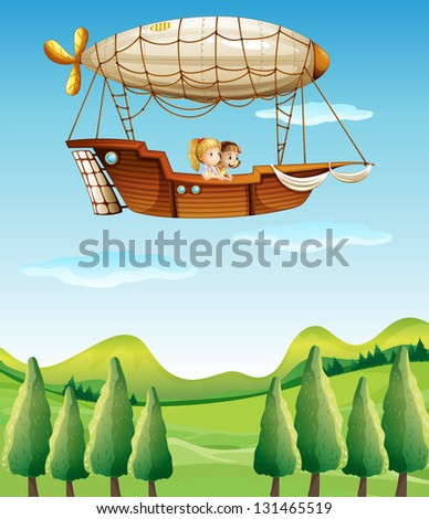 Illustration of two girls riding in an airship
