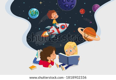 Illustration of two girls sitting on the floor and reading the book about astronaut adventure. Space, rockers stars, galaxy, and planets in the background. Reading and exploring concept. Stock photo ©