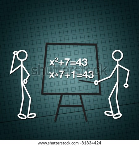 Illustration of two humanoid figures, a teacher and a student in front of the blackboard doing math equations