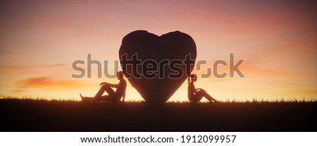 Illustration of two people in love on a beautiful sunset sky background. Love concept, 3d render  Stockfoto ©