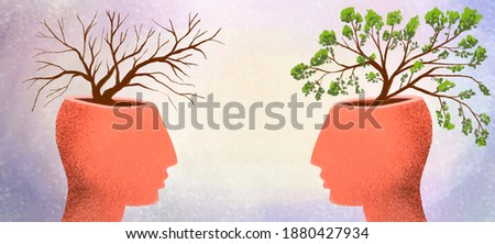 illustration of two profiles of people with trees growing from their heads. Clueless and smart, knowledgeable and stupid, good and evil, positive and negative.