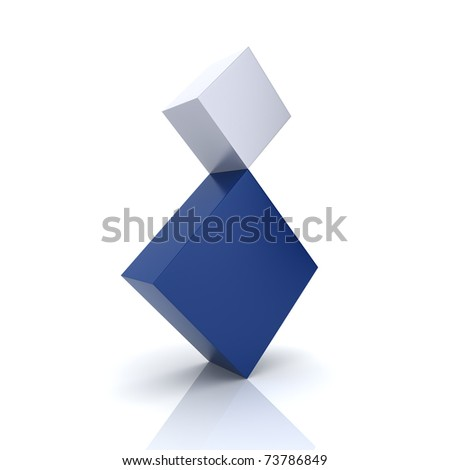 Illustration of two rhombs in concept of balance (blue collection)