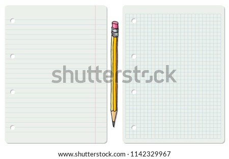 Illustration of two white school paper sheets, lined and squared with graphite pencil in between.