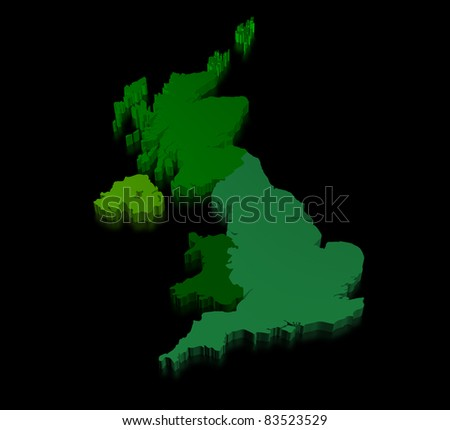 Illustration of united kingdom of great britain on black background with england, scotland, wales and northern ireland