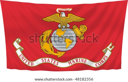 Illustration of United States Marine Corps  flag waving in the wind
