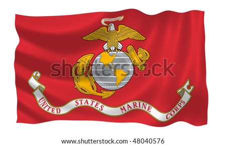 Illustration of United States Marine Corps  flag waving in the wind (see more other flags in my collection)
