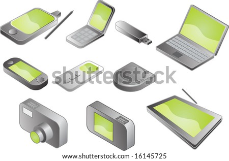 Illustration of various electronic gadgets in isometric format