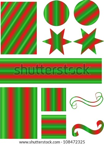 Illustration of various holiday design elements.   Great for scrap booking, card making, and for use on websites