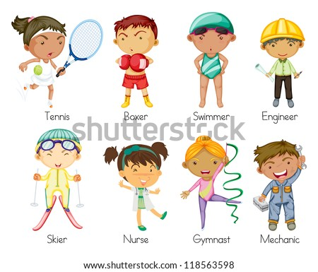 illustration of various sports kids on a white background