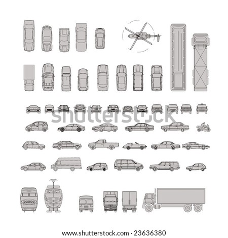 Illustration of vehicle silhouettes in gray and black lines for designers - stock photo