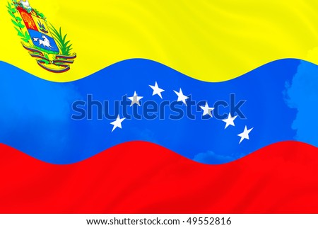 Illustration of Venezuela over sky, flag waving in the wind