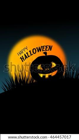 Illustration of vertical web halloween banner with pumpkin
