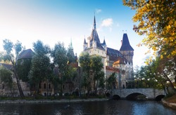 Illustration of view on Vajdahunyad castle on sunset of Budapest in Hungary.