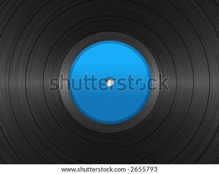 Illustration of vinyl long-play record with blue label. - stock photo