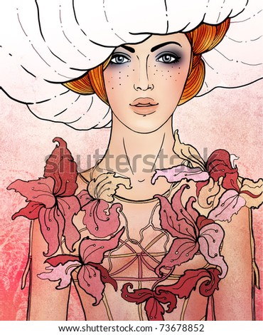 Illustration of virgo astrological sign as a beautiful girl