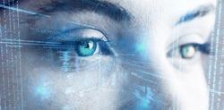 Illustration of virtual data against beautiful eye of woman