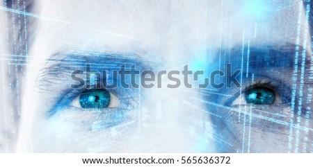 Illustration of virtual data against close up of man eyes