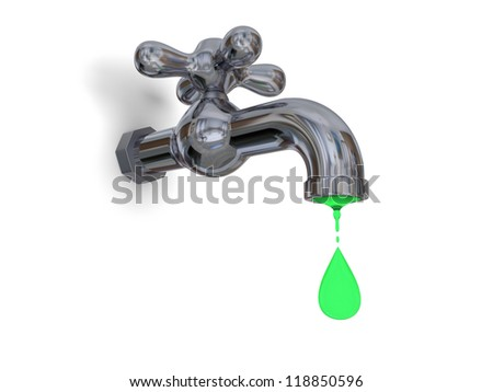 Illustration of water tap dripping green water isolated on white background, concept of environmental pollution and water contamination - stock photo