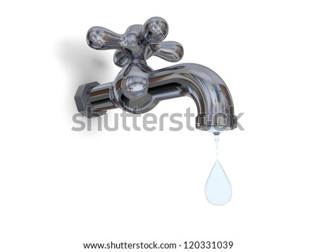 Illustration of water tap dripping with water drop isolated on white background