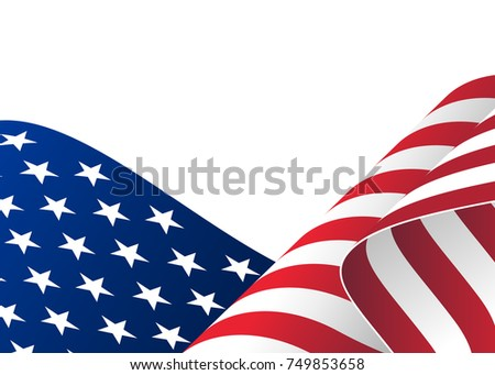 Illustration of waving USA flag. Waving flag of the United States of America, American for Independence Day #749853658