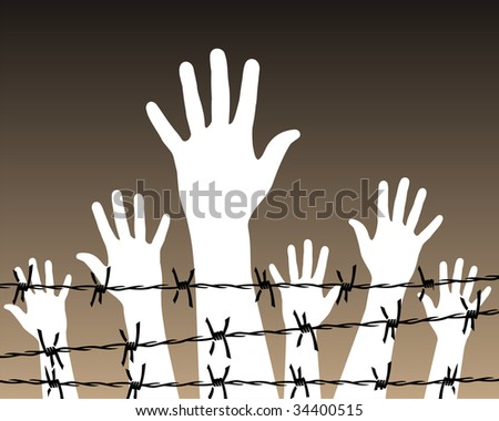 Illustration of white hands behind a barbed wire prison.