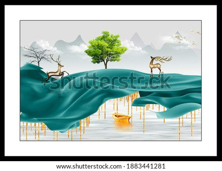 Illustration of wildlife reindeer animal forest decorative texture abstract background 3D wallpaper. Graphical Pattern modern artwork