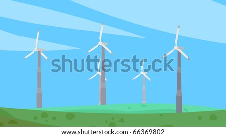 illustration of wind mills in a meadow