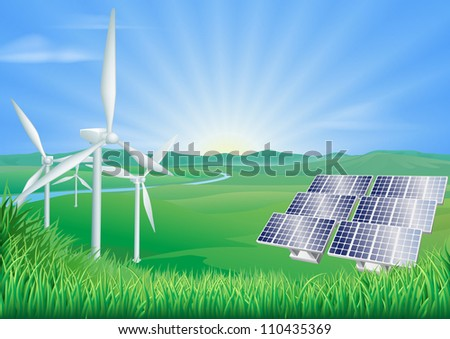 Illustration of wind turbines and solar panels generating renewable energy