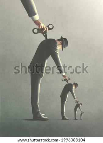 illustration of windup key men manipulation, abstract surreal concept Foto stock ©