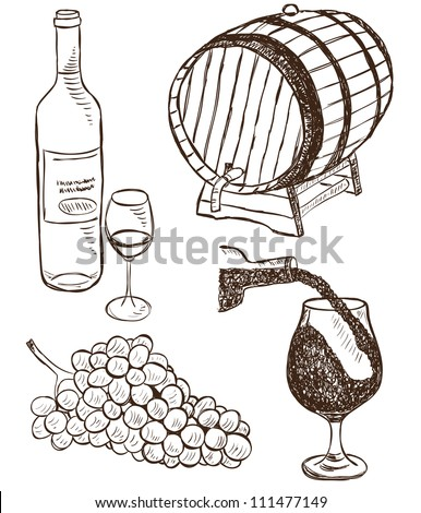 Illustration of wine and grapes collection - doodle style