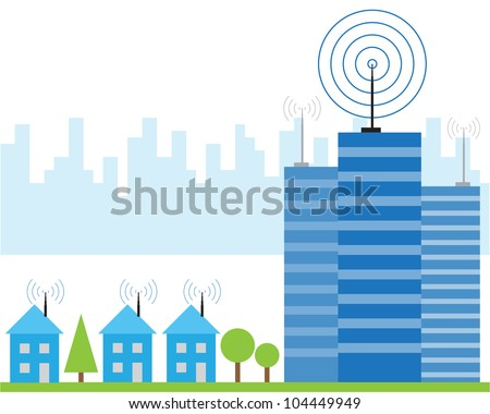 Illustration of wireless signal of internet into houses in city