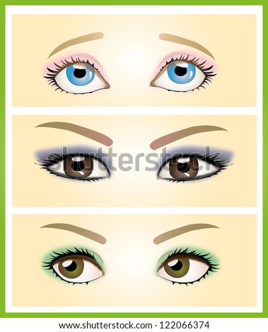 Illustration of woman's eyes of different colors