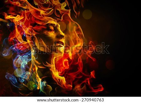 Stock Photo Illustration of woman's face made with fire