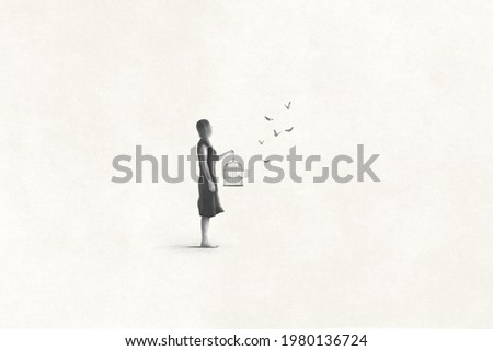 Illustration of woman setting free butterfly, freedom surreal abstract concept Foto stock ©